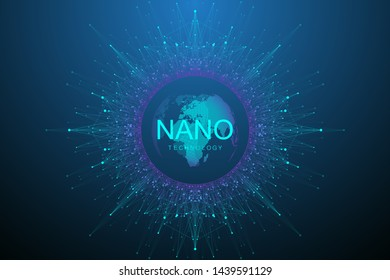 Nano technologies abstract background. Cyber technology concept. Artificial Intelligence, virtual reality, bionics, robotics, global network, microprocessor, nano robots. Vector illustration, banner.