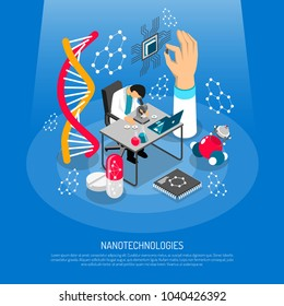 Nano technologies isometric composition on blue background with scientific laboratory, micro chip, robots, medical innovation vector illustration