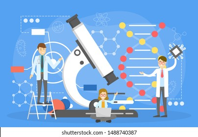 Nano technology concept. Science and laboratory experiment. Molecule engineering, electronic innovation. Scientist with microscope. Vector illustration in cartoon style