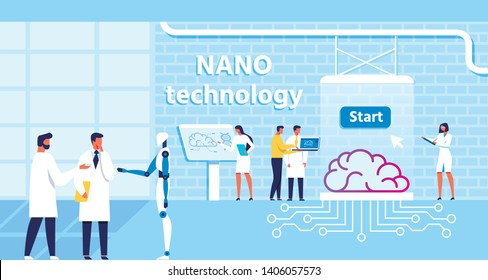 Nano Technology Lab and Scientists Team in Collaboration with Robot. Treatment and Improvement Human Brain Function with Micro Chip. Atomic Nerve Centre, Science and Intellect. Vector Illustration