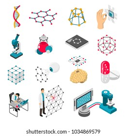 Nano technology set of isometric icons with scientific laboratory, grids and particles, medical innovation isolated vector illustration