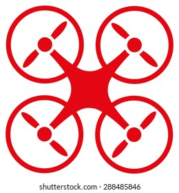 Nanocopter icon from Business Bicolor Set. Vector style: flat symbols, red color, rounded angles, white background.