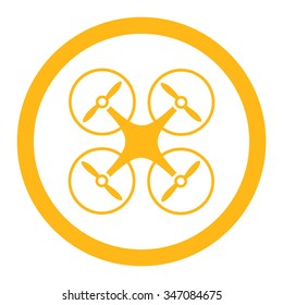 Nanocopter vector icon. Style is flat rounded symbol, yellow color, rounded angles, white background.
