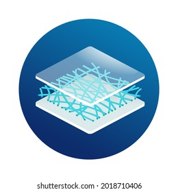 Nanofiber 3D icon - textile with diameters in nanometer range, generated from different polymers with different physical properties. Membrane isometric emblem. Vector illustration