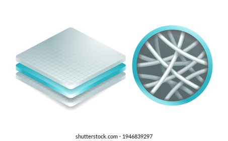 Nanofiber icon - textile fibers with diameters in nanometer range, generated from different polymers with different physical properties. Membrane isometric 3D emblem. Vector illustration