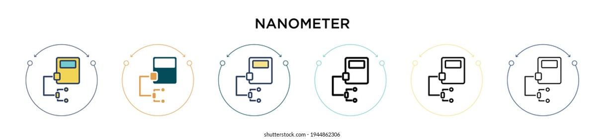 Nanometer icon in filled, thin line, outline and stroke style. Vector illustration of two colored and black nanometer vector icons designs can be used for mobile, ui, web