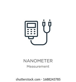 Nanometer icon. Thin linear nanometer outline icon isolated on white background from measurement collection. Line vector sign, symbol for web and mobile