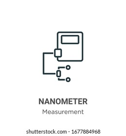 Nanometer outline vector icon. Thin line black nanometer icon, flat vector simple element illustration from editable measurement concept isolated stroke on white background