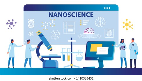 Nanoscience Flat Cartoon Composition with Scientists. Ad Banner for Scientific Nano Laboratory. Working Team Standing Near Huge Microscope, Computer over Digital Monitor. Vector Illustration