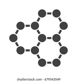 Nanotechnology concept with graphene atomic structure, vector icon