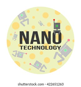Nanotechnology concept of logo and background. Illustration for science, medicine, physics, biophysics,  etc.