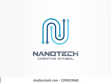 Nanotechnology creative symbol concept. Futuristic letter n, programm, chip abstract business logo. Electronics, computer, digital technology icon. Corporate identity logotype, company graphic design