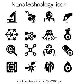 Nanotechnology icon set