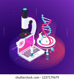 Nanotechnology isometric design concept illustrated microscopy notebook with  science information on screen and big image of dna model vector illustration