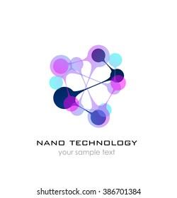 Nanotechnology -Nano logo. Template design of logo. Vector presentation.