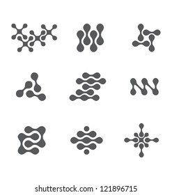 NANOTECHNOLOGY SET ICONS, SYMBOLS, DESIGN ELEMENTS SUCH AS LOGOS. Editable vector illustration file.