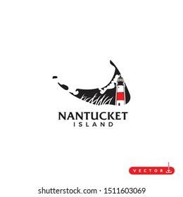 nantucket island with map and lightghouse andLogo Design. Vector Template Illustration.