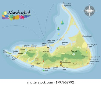 Nantucket Island. Realistic satellite background map with designation of beaches, places for rest and entertainments. Drawn with cartographic accuracy. A bird's-eye view.