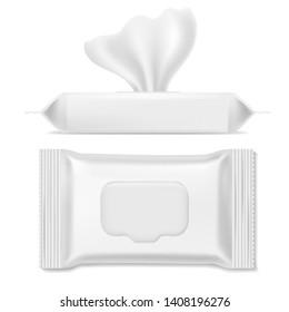 Napkin pack. Antibacterial packs, wet wipes hygiene paper hand napkin makeup clean mockup sanitary packing template, realistic vector design