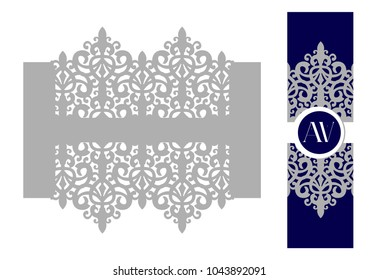 Napkin ring. Holder for scroll invitation. Laser cut lace for wedding invite card. Royal graphic design. Classic elegant decoration candle, bottle. Prince and princess baby shower ( birthday) idea