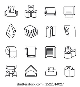 Napkins and toilet paper vector linear icons set. Bathroom accessories thin line illustrations pack. Toilet hygiene goods. Disposable napkin, towel, lavatory paper roll isolated clipart collection