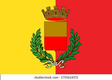 Naples flag vector illustration. Naples coat of arms. Symbol of Italy town Napoli. Europe city emblem.
