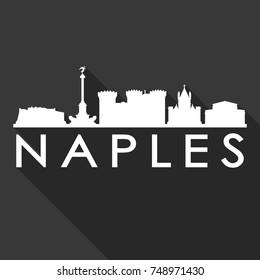 Naples Flat Icon Skyline Silhouette Design City Vector Art Famous Buildings