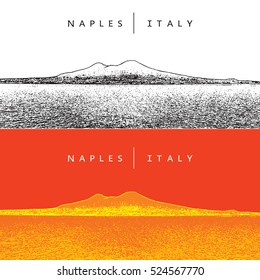 Naples, Italy. Panoramic view and volcano Vesuvius. Vector illustration. Famous landmarks, touristic places, scenic landscapes.