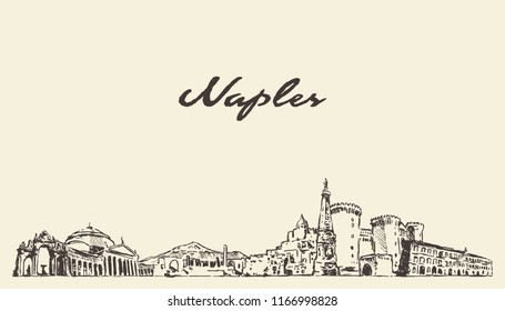 Naples skyline, Italy, hand drawn vector illustration, sketch