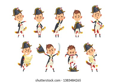 Napoleon Bonaparte cartoon character, French historical figure in different situations vector Illustration on a white background