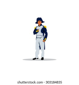 Napoleon Bonaparte cartoon character sign. Vector Illustration. Branding Identity Corporate logo design template Isolated on a white background