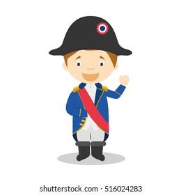 Napoleon Bonaparte cartoon character Vector Illustration. Kids Collection.