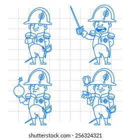 Napoleon Bonaparte character in various poses doodle