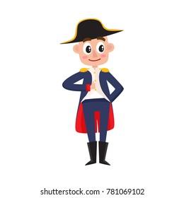 Napoleon Bonaparte, French historical figure, cute cartoon vector illustration isolated on white background. Fell length cartoon style portrait of Napoleon Bonaparte, French emperor