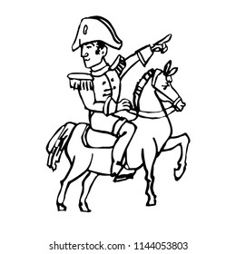 Napoleon Bonaparte the general on horse shows a hand forward ink drawn doodle line art vector sketch icon illustration on white background