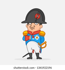 Napoleon Bonaparte holds hand on chest. Funny character. Vector Illustration