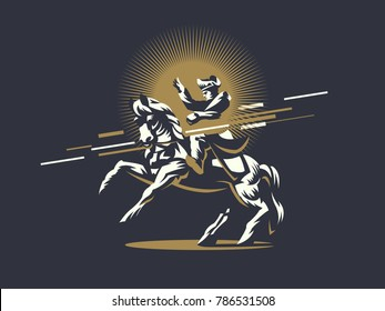 Napoleon Bonaparte on horseback. Vector illustration.