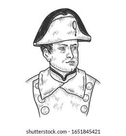 Napoleon Bonaparte portrait sketch engraving vector illustration. T-shirt apparel print design. Scratch board imitation. Black and white hand drawn image.