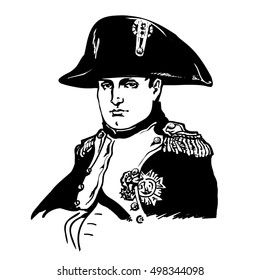 Napoleon Bonaparte.Black and white hand drawn portrait. Vector illustration isolated on white background.