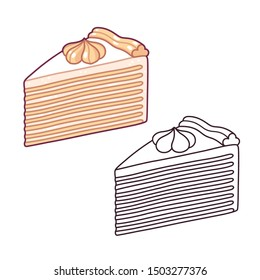 Napoleon cake, traditional mille-feuille pastry with many thin layers and cream frosting. Hand drawn cartoon style vector illustration. Color drawing and black and white line art.