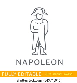 Napoleon. Template of logo. Line flat design of education logo. Modern vector logo concept. Fully editable outlines, saved lines and layers.