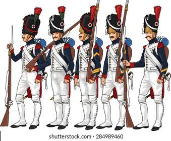 Napoleon's Grenadier Guardsmen, Illustration Isolated on White Background, EPS 10 Vector