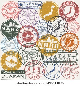 Nara Japan. Set of Stamps. Travel Stamp. Made In Product. Design Seals Old Style Insignia.