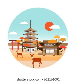 Nara park autumn landscape with pagoda, shrine, torii gate, deers and red foliage trees. Tourism in Japan. Vector design.