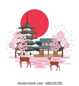 Nara park spring landscape with pagoda, shrine, deers and cherry blossom sakura trees.   Tourism in Japan. Vector design.