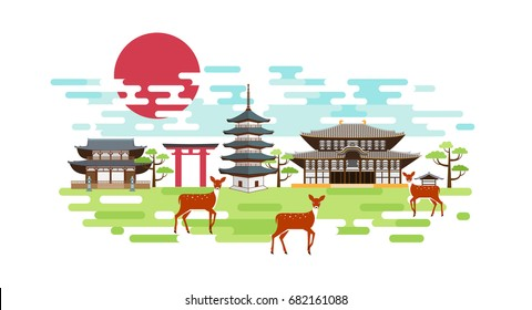 Nara park summer landscape with pagoda, shrine, torii gate, red sun, deers and green trees. Tourism in Japan. Vector design.