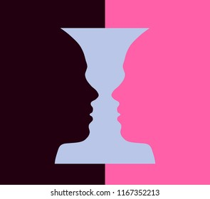 Narcissism mental disorder and Rubin vase, optical illusion, head girl