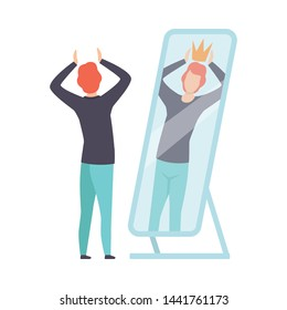 Narcissistic Man Character Looking at Mirror and Seeing in Reflection of Himself with Crown on His Head, Person Overestimate Himself, Self Confidence, Motivation Vector Illustration