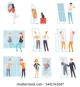 Narcissistic People Characters Looking at Mirror and Admiring of Themselves Set, Men, Women qnd Cat Overestimate Themselves, Self Confidence, Motivation Vector Illustration