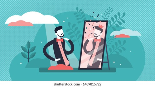 Narcissistic vector illustration. Flat tiny self love behavior person concept. Ego confidence and egocentric attitude visualization. Macho beauty importance lifestyle as psychological disorder symptom